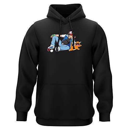 Okiwoki Sweat-Shirt à Capuche Noir Parodie Pokémon - Salamèche et Sasha - Un Briquet Bien Pratique : (Sweatshirt de qualité Premium de Taille 3XL - imprimé en France)