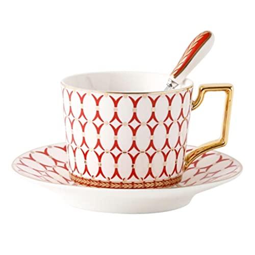Latte Art Cup - Taza de café apilable y platillos de estilo europeo con cuchara para oficina y hogar, color rojo