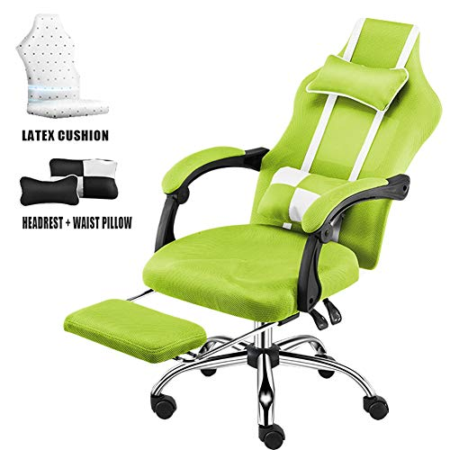 MOye Computer Chair Home Simple Office Swivel Chair Comfortable Latex Cushion Ergonomic Backrest Chair Gaming Chair Game Seat,Green,B
