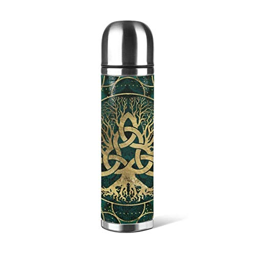 Viking Celtic Tree Turquoise Thermos cup Vacuum Insulated Water Bottle Compact Stainless Steel Coffee Travel Mug 17 Ounce for Kids Girls Adult