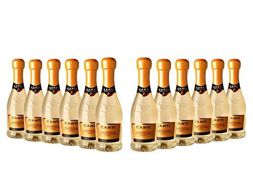 CANTI Prosecco D.O.C. Millesimato Extradry Pequeño Vino Espumoso Italiano - 12 Botellas X 200ml