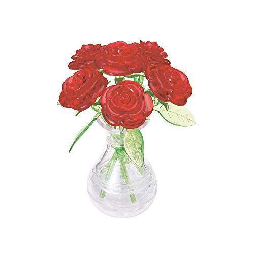 HCM Kinzel 59171 Crystal Puzzle Rote, 47 Teile, 6 Rosen in Einer Vase, bunt