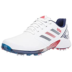 adidas Men's ZG21 Recycled Polyester Golf Shoes, Footwear White/Crew Navy/Vived Red, 8