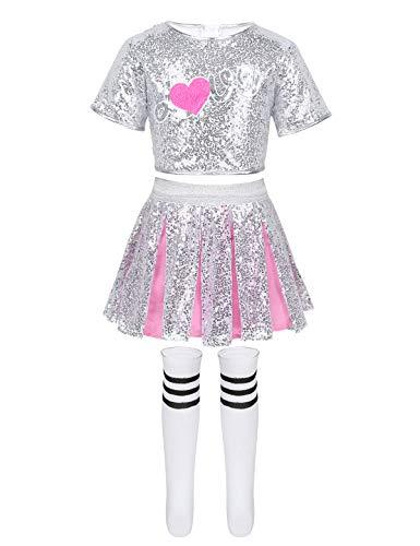 Aislor Kids Girls School Uniform Cheerleading Jazz Hip Hop Dance Outfits Sparkly Crop Top Skirt Sock Silver&Rose Pink 3-4T