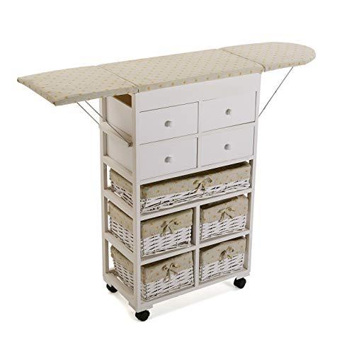 profesional ranking Versa 21160003 Armario de cocina con cajones Pizarra blanca, madera y ratán, 83 x 32 x 120 cm elección