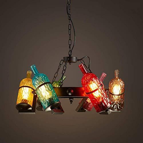 YANGQING Luz de Color de la Lámpara de Estilo Industrial Americano Tema de la Barra de Internet Cafetería Restaurante Botella de Vino Lámpara Creativo Retro 64cm*33cm