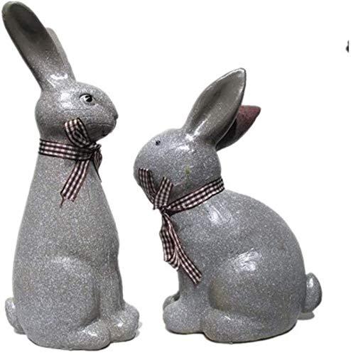 WQQLQX Statue Kaninchen Figur Statue Garten Kaninchen Modell Nette Garten Simulation Tierharz Handwerk Ostern Kaninchen Dekoration Skulpturen