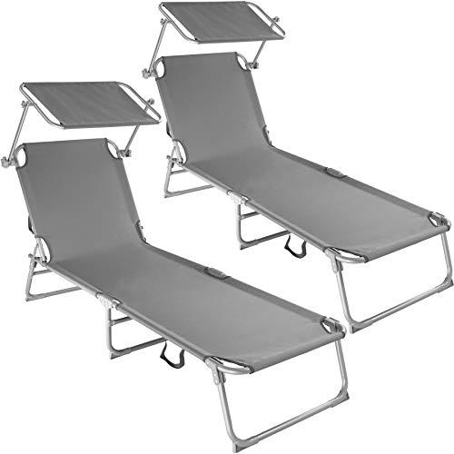 TecTake 800035 Set de 2 tumbonas, Conjunto de tumbones Plegables con Estructura de Aluminio y Parasol para Playa, Muebles de jardín, Mobiliario Exterior