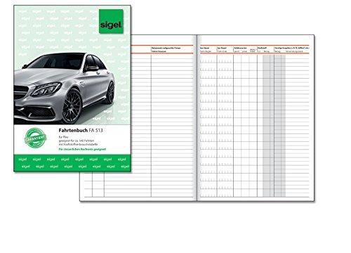 SIGEL FA513 Fahrtenbuch A5, 32 Blatt - für Vielfahrer max. 540 Fahrten - für Deutschland und Österreich