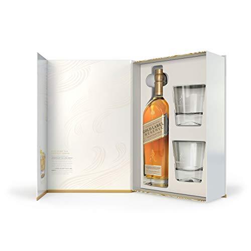 Johnnie Walker 754274 Gold Label Blended Scotch Whisky - Paquete de Regalo con 2 Vasos, Alcohol, Botella (40%, 700 ml)