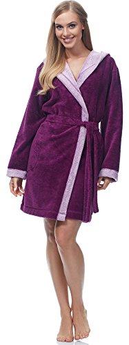 Merry Style Damen Bambusfasern Bademantel MSLL1002 (Violett/Rosa, XL)