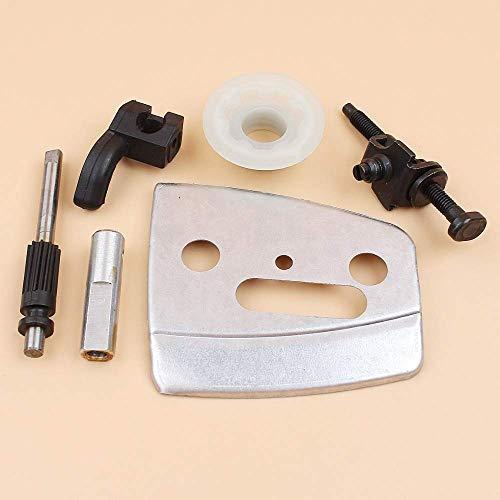 Placa de barra tensora de cadena de recogida de engranaje helicoidal de bomba de aceite compatible con piezas de motosierra HUSQVARNA 340, 345, 350, 353, 346 XP 346XP
