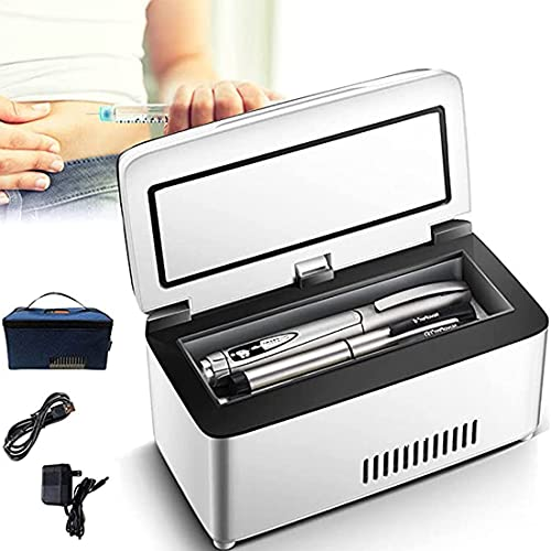 XYEJL Enfriador de Insulina Caja Refrigerada,Hogar con LCD Temperatura Constante 2-8℃,Refrigerador de Medicamento Ultra Silencioso Carga USB,para refrigeración De interferón,1*Battery