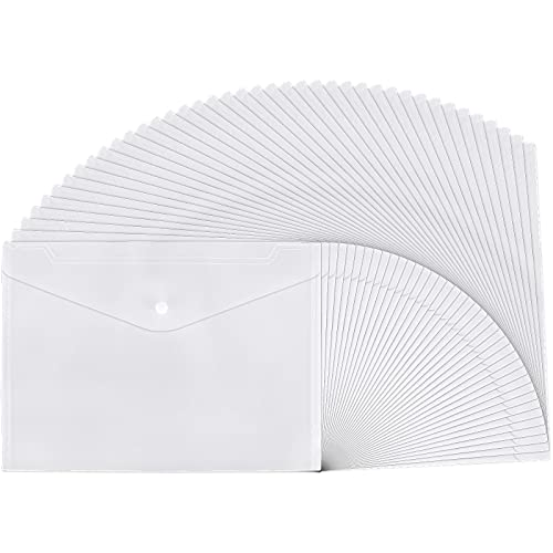 40pcs Clear Plastic Envelopes Reusable Poly Waterproof File Folder with Snap Button, US Letter A4 Size