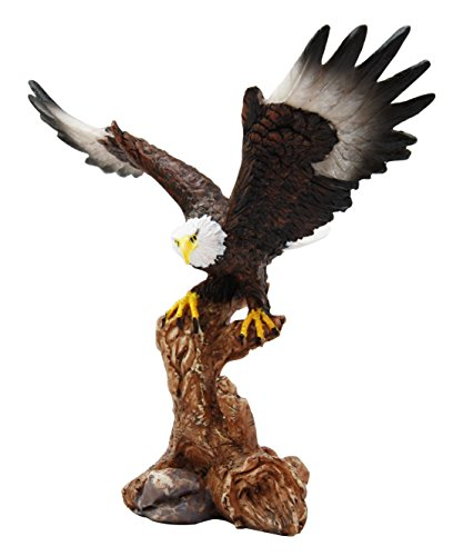 Ebros 7' Tall Bald Eagle Descending On Tree Branch Decorative Figurine As Patriotic Home And Office Decor Perching Eagles Wings Of Glory American Emblem Freedom Statues And Figurines