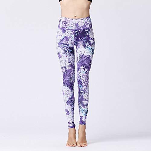 3D Pantalones De Las Polainas De La Yoga De Las Mujeres,Medias De Control De Barriga De Cintura Alta, Leggings De Elasticidad Con Estampado De Camuflaje Púrpura Elegante Y Sexy, Adecuado Para Yoga,