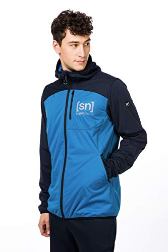 super.natural Veste softshell légère pour homme, avec laine mérinos M Bleu marine/bleu vallarta.