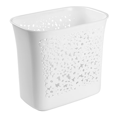 mDesign Decorative Slim Rectangular Floral Small Trash Can Wastebasket, Garbage Container Bin for Bathroom, Powder Room, Bedroom, Kitchen, Kids Rooms, Craft Room, Office - Floral Design, White