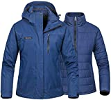 Women's 3 In 1 Puffer Inner Winter Coat Heated Mountain Waterproof Ski Snow Jacket Puffer Liner Insulated Windproof Hooded Windbreaker Navy M