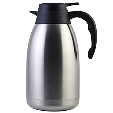 68 Oz Stainless Steel Thermal Carafe/Double Walled Vacuum Thermos/12 Hour Heat Retention/2 Litre