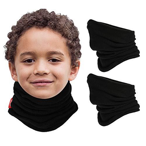 Aegend 2 Pack Fleece Neck Warmer for Kids (Age 4-12), Black