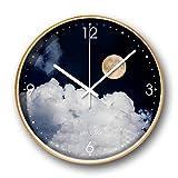 DIEFMJ Luna Llena en el mar Reloj de Pared con Marco Dorado nórdico Creativo de 14 Pulgadas Relojes de Gama Alta de Lujo pequeños y Frescos Borde Dorado
