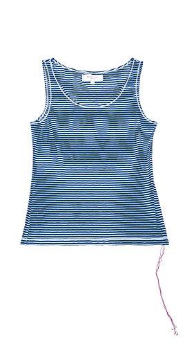 Max Studio London Women's Striped Cotton Tank Top Indigo/Off-White Stripe XS