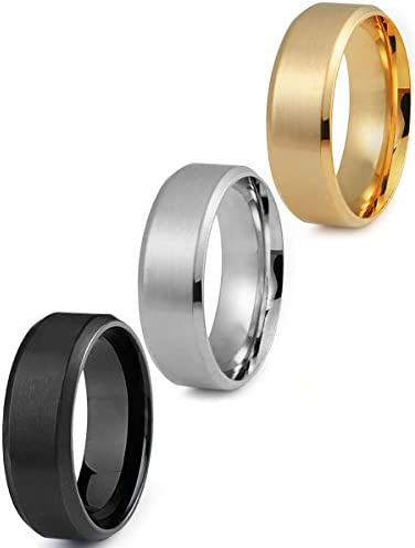 Jstyle Stainless Steel Rings for Men Wedding Ring Cool Simple Band 8 MM 3 Pcs A Set Size 6 5 product image