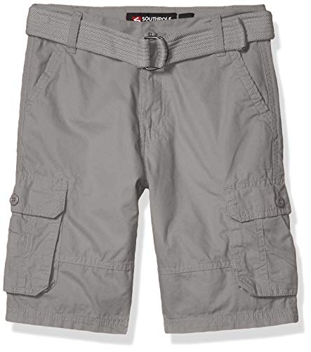 Southpole - Kids Boys' Big Belted Mini Canvas Cargo Shorts in, Light Grey 3, 18