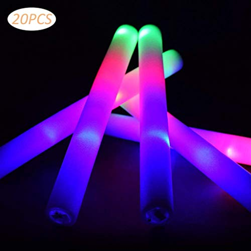 Purchase 20 PCS LED Light Up Foam Sticks by ALZERO, Three Modes Color Changing Glow Party Supplies f...