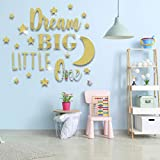 DIY 3D Acrylic Mirror Wall Stickers, MOTASOM Dream Big Little One Mirror Combination Wall Decal, Removable Stars Moon Mural Decoration for Decor Kid Baby Nursery Home Living Room Bedroom (Gold)