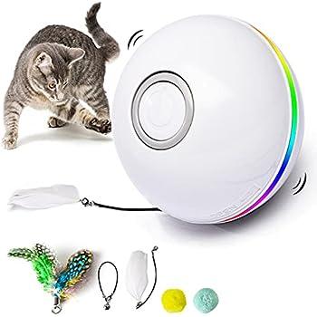 Fairwin Jouet pour Chat, Balles Interactives pour Chats avec Lumières LED et Jouets Cataire pour Chats d'intérieur, 360 Degrés et Chargement USB à Rotation Automatique