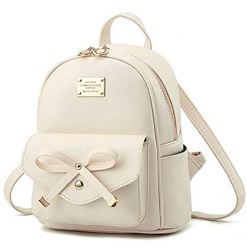 Girls White Mini Backpack Purse Leather Cute Bowknot Fashion Small Backpacks Purses for Teen Women