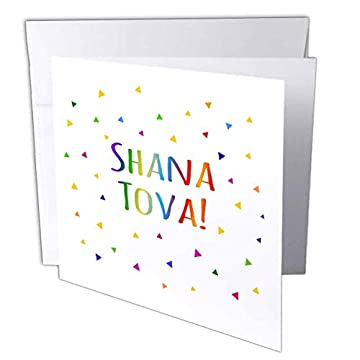 colorful rainbow shana tova greeting card for jewish new year