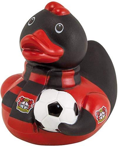 Bayer 04 Leverkusen Badeente - Fan - Quietscheente mit Ball und Schal, Ente, Duck - Plus Lesezeichen Wir lieben Fußball