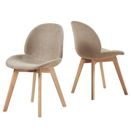 EGGREE 2er Set Polsterstuhlset Esszimmerstühle mit Sitzfläche aus Leinen Vintage Design und Buchebeine, Cremig Grau