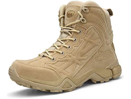 GJRRX Botas Tácticas para Hombre Mid High Rise Senderismo Zapatos Botas para Hombre Estilo Militar con Cordones Transpirables caña Baja Cremallera Lateral Piel 39-46
