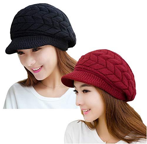 YSense 2 Pack Women Winter Warm Knit Hat Slouchy Beanie Cap with Visor