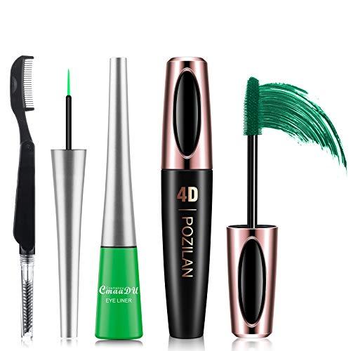 4D Silk Fiber Lash Mascara Waterproof with Eyeliner and Folding Eyelash Comb Brush - Lengthening, Volumizing, Long-Lasting, Natural Eye Makeup Set (Green mascara & Fluorescent green eyeliner)