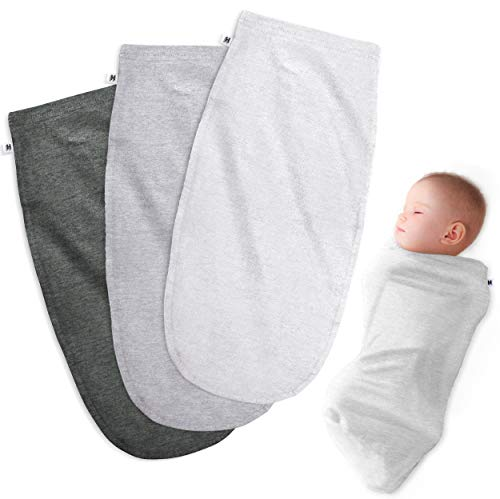Henry Hunter Baby Swaddle Cocoon Sack | The Simple Swaddle | Soft Stretchy Comfortable Cotton Receiving Blanket for Infants amp Newborns 03 Months White Heather | Light Heather | Dark Heather