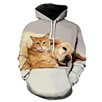 2021 New Spring and Autumn 3D Cat Print Men's and Women's Long Sleeve Casual Sweatshirt Animal Cute Dog Hip hop Hoodies Tops