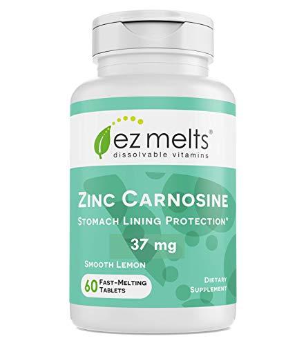EZ Melts Zinc Carnosine, 37 mg, Sublingual Vitamins, Vegan, Zero Sugar, Natural Lemon Flavor, 60 Fast Dissolve Tablets