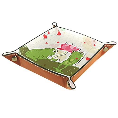 Bandeja de almacenamiento de cuero,bandeja de bolsillo,bandeja de valet,contenedor de bandeja de joyería,Frog Lotus Butterfly Día de San Valentín ,plato
