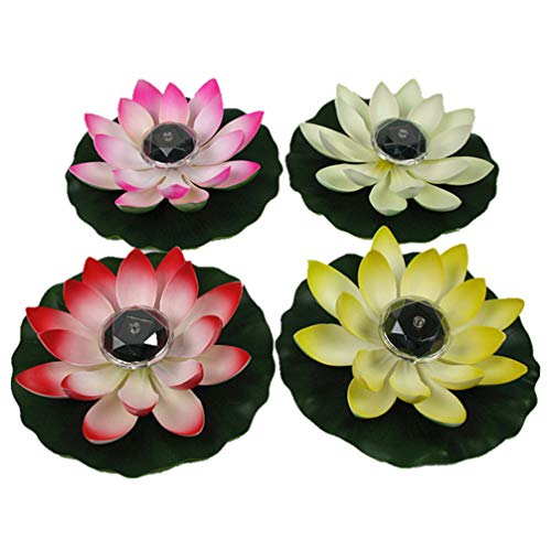 OSALADI 2pcs Colorful Floating Lotus Lights, Solar Powered Wishing Lotus Candles Light Waterproof Floating Candles Lantern for Pond Garden Festival (Mixed Colors)