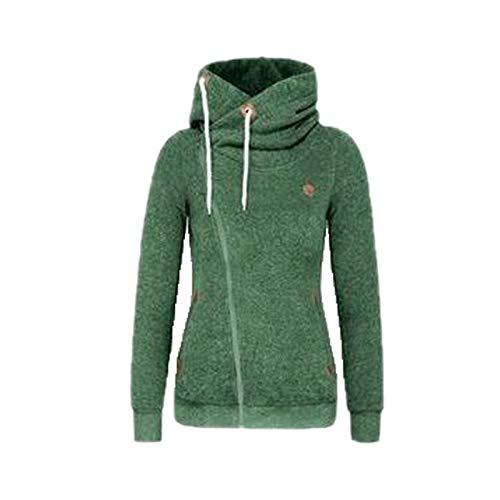 Elonglin Sweat Zippé à Capuche Femme Pulls à Capuche Pullover Veste Sweater Manches Longues Mode Casual Hoodie Sweat-Shirt Vert L