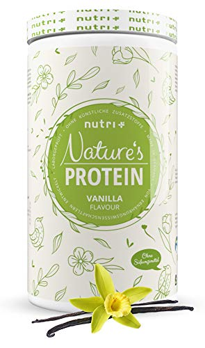 Natures Protein Powder Vanilla Without Sweetener 500g - 83,1% Protein - Nutri-Plus Lactose-Free Drink - as Shake or for Baking - Gluten-Free - Vegan