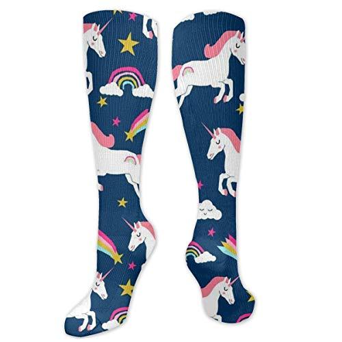 Jessicaie Shop Rainbow Clouds Stars Unicornio Calcetines de compresión para hombres y mujeres Soporte graduado-Damas corriendo