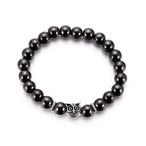 Pulsera de perlas para mujer, diseño de búho magnético, hematita, pulsera de hematita, accesorio