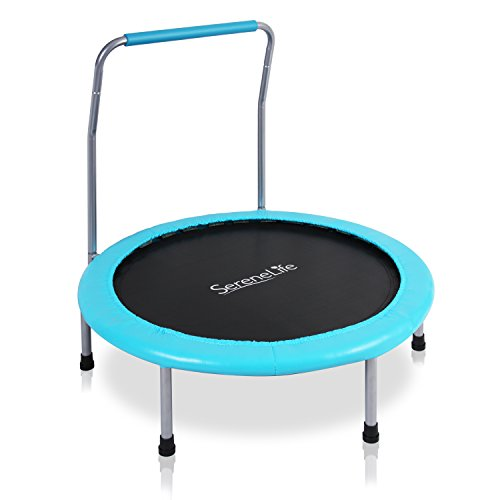 SereneLife 36' Inch Portable Fitness Trampoline – Sports Trampoline for Indoor and Outdoor Use – Professional Round Jumping Cardio Trampoline – Safe for Kid w/Padded Frame Cover and Handlebar