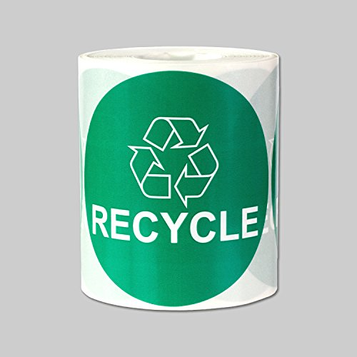 """Recycle Logo Recycling Circle Symbol Labels Round Self Adhesive Stickers (Green White / 3"""") - 300 Labels per Package"""